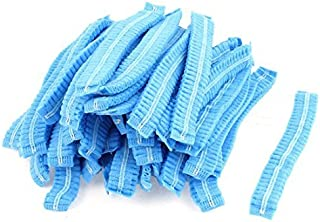 eDealMax Tejido elástico Banda Señora de baño casquillos de ducha del baño del Sombrero Azul 100pcs