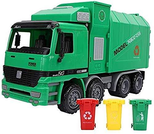 YLJJ Modellautos Abfall-LKW-Simulation Inertia Sanitation Auto-Modell-Spielzeug Friction Powered Pull Back Müll mit DREI Papierkorb Geschenk Spielzeug Modell für Kinder