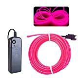 EL Wire Pink, MaxLax 16.4ft/5m Portable Battery Pack Neon Lights cuttable Glowing Electroluminescent Wire for Parties, Halloween, DIY Decoration