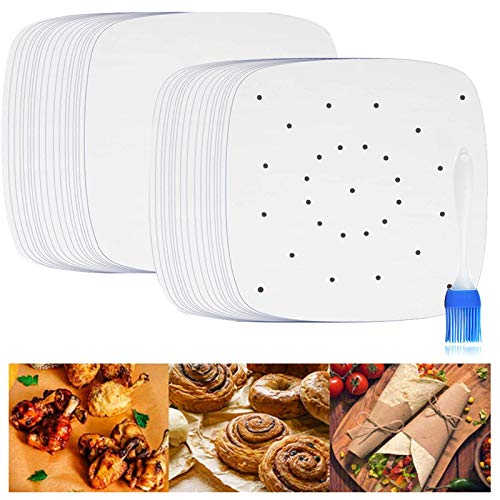 Parchment Paper for Air Fryer, IMISUTD 8.5 Inch Liners Air Fryer 150pcs Perforated Parchment Liners for Baking, Air Fryer Basket, Cake Pan( Square )