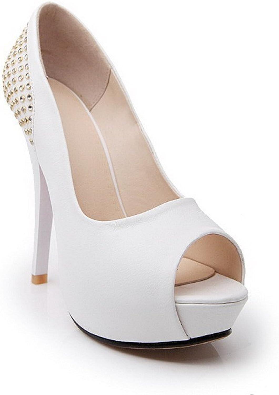 AmoonyFashion Women's Peep Toe Pull-on PU Solid High-Heels Sandals