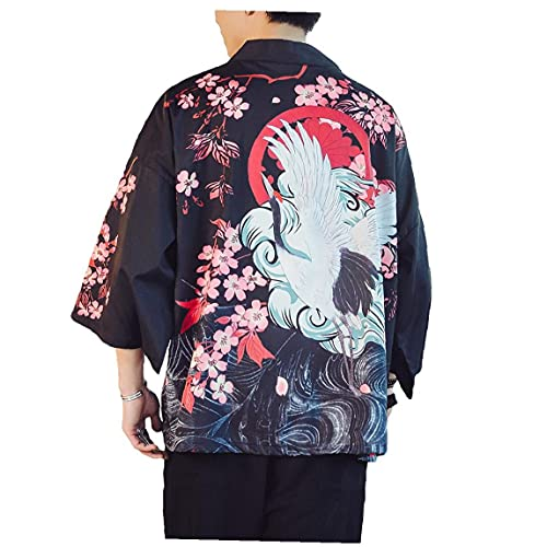 Runfon Kimono japonés Tradicional Yukata Kimono Cardigan Playa de los Hombres Delgados de Asia Ropa de Japón Kimonos de Manera Masculino Ocasional de la Camisa Cardigan