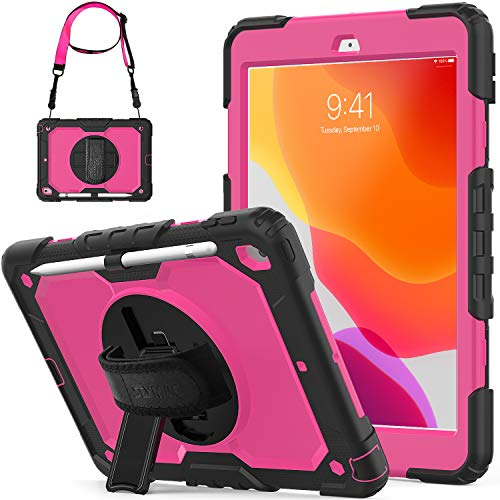 SEYMCY Case for iPad 10.2 inch 2019/2020, iPad 7th/8th Generation Case, 360 Degree Rotating Stand Cover Shockproof Kids Case with Screen Protector for iPad 8th Gen (2020)/7th Gen (2019), Black/Pink