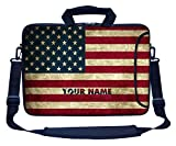Meffort Inc Custom/Personalized Laptop Bag with Side Pocket & Shoulder Strap for Notebook Ultrabook Chromebook, Customized Your Name (17.3 Inch, USA Flag)