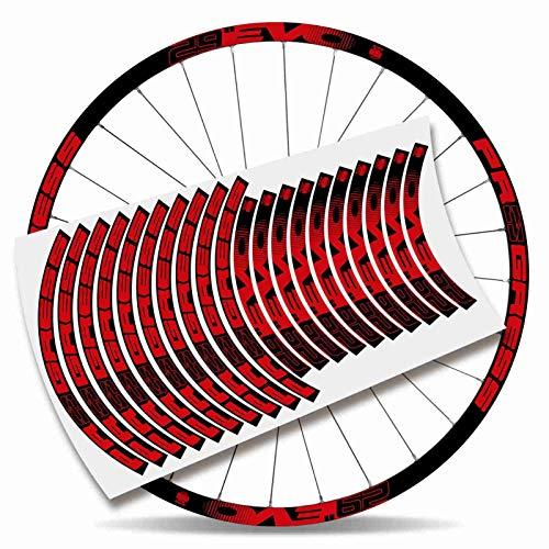 Kit Pegatinas Bicicleta Stickers LLANTA Rim Progress EVO 29' MTB BTT B (Rojo Claro)