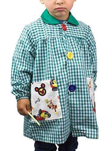 KLOTTZ - Babi guardería con bolsillos de tela MICKEY. Bata colegio de manga larga Niñas color: VERDE talla: 4