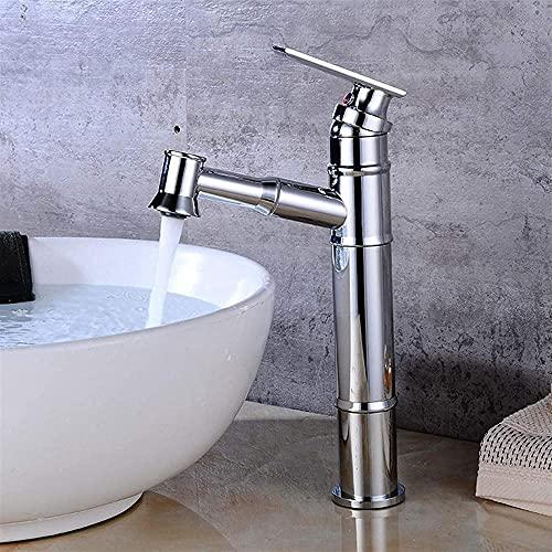 MLFPDXC-Todo bronce caliente y frío sobre el mostrador grifo del lavabo grifo antiguo negro inodoro gabinete de baño grifo lavabo grifo con rociador extraíble (color: amarillo dorado) -plata