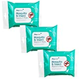 25pk Mosquito Insect Midge Repellent Wipes Tropical Formula Bite Deet Free - 3X