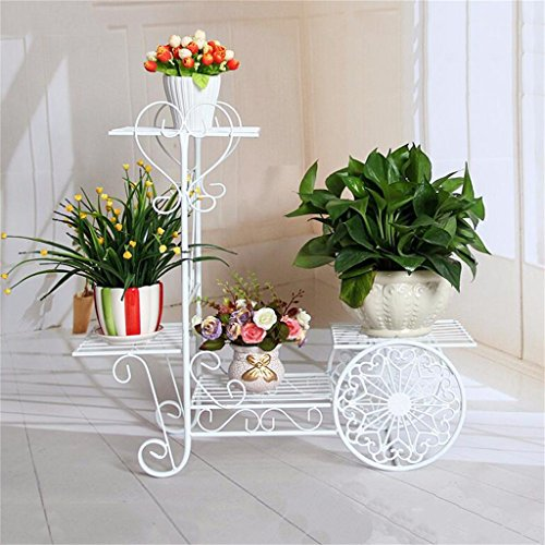 QFF Porte-fleurs en style européen Fer à repasser étagères en bois à étages étagères en bois massif Balcon Radars verts Salon Étagère à fleurs Chlorophytum ( Couleur : Blanc )