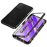 Funda Compatible con Samsung Galaxy A52s 5G / A52 5G, Carcasa Absorción Magnética con Armario Diseño, Aluminio Bumper Transparente Vidrio Templado Case Anti-Arañazos 360 Grados Cover,Negro