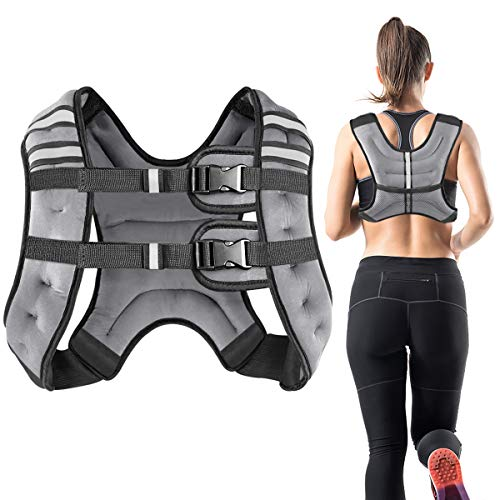 Vailge Gewichtsweste, 2kg/5kg/10kg Laufweste, Training mit Gewichten Trainingsweste für Fitness, Krafttraining, Laufen, Cross Training, Muskelaufbau(Grau,2kg)