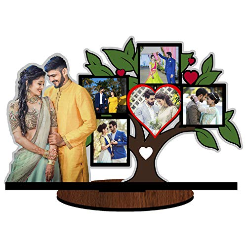 Unique Stuff Personalized Gift Family Tree Love Tree Photo Frame Cutout Standee Customized with Your Photos (Wooden, 12inch x 17inch, Multicolour)