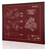 Ducati 848 Blueprint Artwork-Laser Marked & Personalized-The Perfect Ducati Gifts