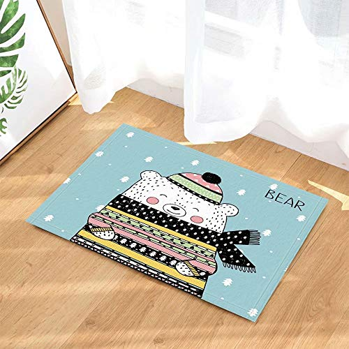 Kinderlijke winter cartoon witte beer sjaal en muts Kinderbadkamer tapijt toiletdeur mat woonkamer 50X80CM badkameraccessoires