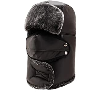Hat Fashion Unisex Windproof Ski Warm PU Leather Thick Balaclava With Ear Flap Face Mask Motorcycle Face Shield For Men Women Neck Warmer For Winter Outdoors Cycling Snowboarding Hiking Black Waterpro