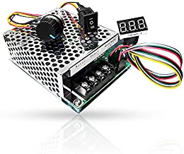 PWM DC Motor Speed Controller, DC 10-55V/60A, LED Display Stepless DC Motor Speed Controller with Adjustable Potentiometer and Forward-Brake-Reverse Switch
