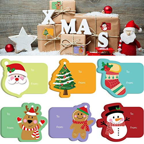 20 Pieces Christmas Labels Name Tags Stickers Christmas Self-Adhesive Stickers Christmas Theme Tags for Xmas Festival Presents Holiday Decorations