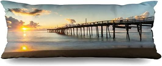 Ahawoso Zippered Body Pillow Cover 20x54 Inches Pier Cape Nobody Hatteras National Parks North Ocean Coast Coastal USA Outdoor Horizontal Island Decorative Cushion Case Home Decor Pillowcase