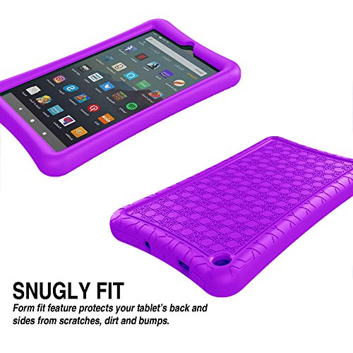Surom Silicone Case for All-New Amazon Fire 7 2019/2017, Light Weight Shock Proof Protective Soft Silicone Kids Friendly Back Cover Case for Fire 7 Inch 2019/2017 (9th/7th Generation), Purple