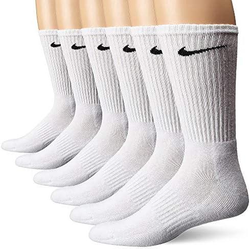 Nike unisex-adult womens mens Performance Cushion Crew Socks With Bag (6 Pack)