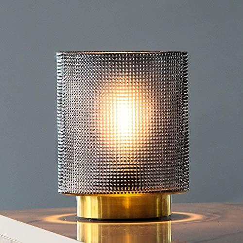 MJ PREMIER Tischlampe, Batteriebetriebene Tischleuchte aus Glas, Dekorative Schnurlose Nachttischlampe mit Timer, Tischlampe für SchlafzimmerWohnzimmer/Hausdekoration/Tisch/Geschenk (Grau)