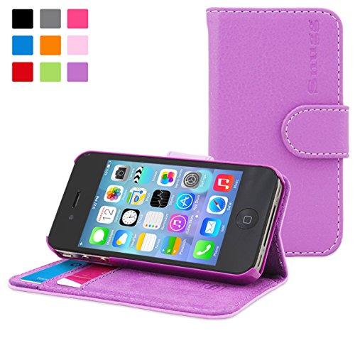 Snugg - Custodia a portafoglio in pelle per iPhone 4/4S, con scomparti per carte di credito, colore: Viola
