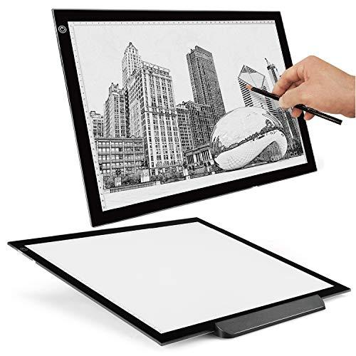 Flexzion Caja de luz A3 artista Tracing Tabla cojín tablero de dibujo de la tableta - portátil ultra-delgado iluminación LED W/Multi-Nivel regulable Brillo Para El Gráfico plantilla del tatuaje del