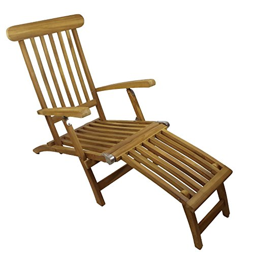 Linder Teakholz Deck Chair mit Armlehne, Edelstahlschrauben und Edelstahbeschlägen, 60x93x150cm, 75% maschinengefertigt, 25% Handarbeit, ofengetrocknet, aus nachhaltig bewirtschafteten Plantagenbau