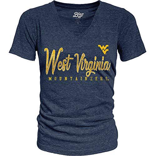 Elite Fan Shop West Virginia Mountaineers Womens Triblend Tshirt Vintage - Medium - Navy