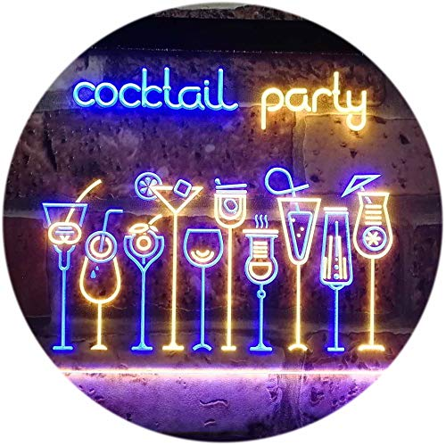 ADV PRO Cocktail Party Home Bar Club Pub Dual Color LED Enseigne Lumineuse Neon Sign Bleu et Jaune 400 x 300mm st6s43-i3175-by