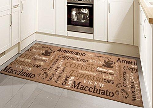 Special Carpets Teppich Küche Gel Läufer Küchenläufer in beige mit Schriftzug Coffee Macchiato Größe 80x300 cm