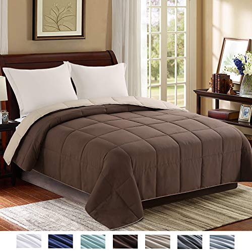 Homelike Moment Reversible Lightweight Comforter - All Season Down Alternative Comforter Queen Summer Duvet Insert Brown Quilted Bed Comforters with Corner Tabs Full/Queen Size Chocolate Brown/Beige