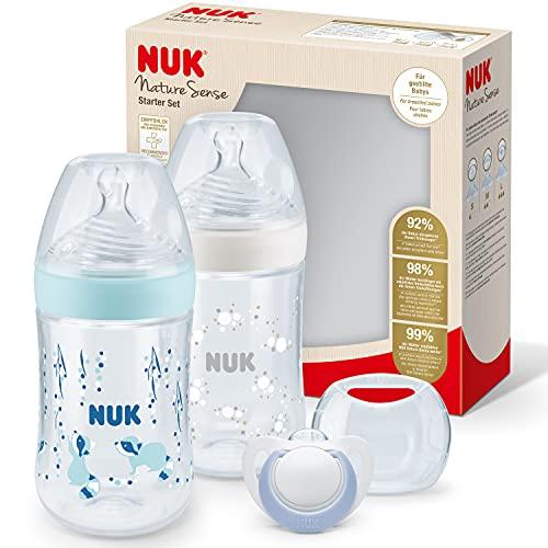 NUK Nature Sense Babyflaschen Twin Set | 0–6Monate | 2 Anti-KolikFlaschen (260 ml) mit Temperature Control Anzeige + 1 Schnuller | mit brustähnlichem Silikon Trinksauger | BPA-frei | Blau | 3 Stück