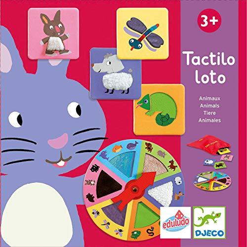 Djeco- Juegos de acción y reflejosJuegos educativosDJECOEducativos Tactilo Loto Animales, Multicolor (15)