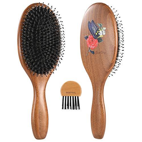BESTOOL Cepillo de pelo con cerdas de jabalí con alfiler de nylon, uno de los mejores cepillos para el pelo para mujeres, hombres o niños, pelo largo grueso y rizado (negro)