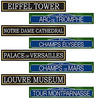 Beistle French Street Signs Cutouts, 4 by 24-Inch, Multicolor