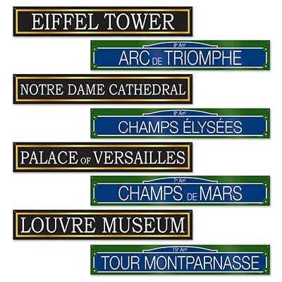 French Street Signs Cutouts, 4 by 24-Inch