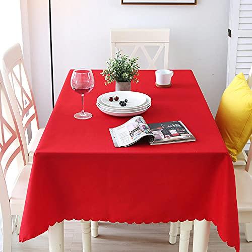 XQSSB Mantel de Mesa Rectangular de Tela Manteles Resistente Al Desgaste Grueso Lavables Antimanchas para Decoración de La Mesa de Comedor Rojo a 160 × 200cm