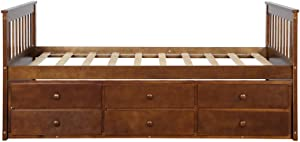 Solid Wood Mate's & Captain's Bed Twin with Storage Drawers and Trundle (Walnut)