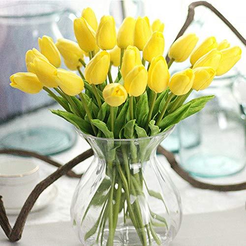 Ewige Rosen 20 stück / 30 stück tulpen künstliche Blumen echte Tuch künstliche künstliche para Decora Tulip für Hause Hochzeit Dekoration Blumen Kunstblumen (Color : Yellow, Size : 20pc)