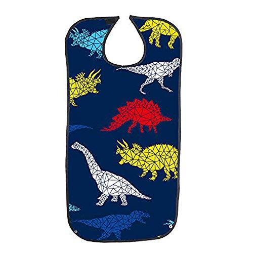Baberos para adultos para hombres y mujeres, protector de ropa reutilizable, lavables y impermeables, para comer, baberos para adultos mayores (impresión de dinosaurios)