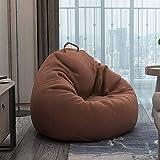 BRFDC Silla Acolchada de Suelo Lazy Sofa Bean Bag Single Tatami Pequeño Apartamento Sala De Estar Dormitorio Reclinable Balcón Silla De Ocio (Color : Original brown90x110cm)