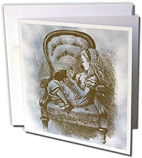 Alice in Chair with Cat Alice in Wonderland Vintage - Greeting Card, 6 x 6 inches, single (gc_110210_5)