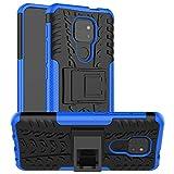 LFDZ Funda Motorola Moto G9 Play,con Soporte Cáscara de Doble Capa de Cubierta Heavy Duty Silicona Caso Funda para Motorola Moto G9 Play Smartphone(Not fit Moto G9 Plus),Azul