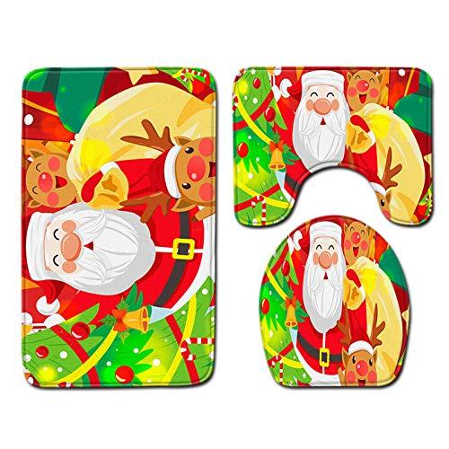 WHDJ Christmas Bathroom Rugs,3 Piece Bath Mat Sets,Soft Plush Anti-Slip Shower Rug & U-Shaped Toilet Mat,Microfiber Shaggy Carpet,Super Absorbent Bath Mats