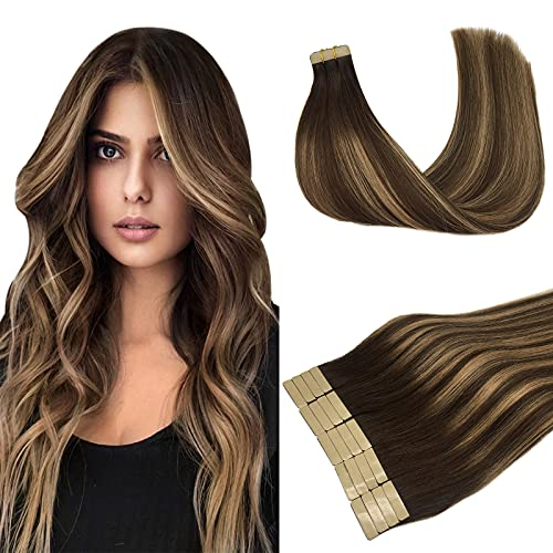 LAB·EH Tape in Hair Extensions Ombre Chocolate Brown to Caramel...