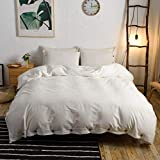 M&Meagle 3 Pieces White Duvet Cover King,100% Washed Cotton Duvet Cover with Button Closure,Ultra Soft Natural Cotton Bedding Set-King Size(1 Duvet Cover 2 Pillowcases)