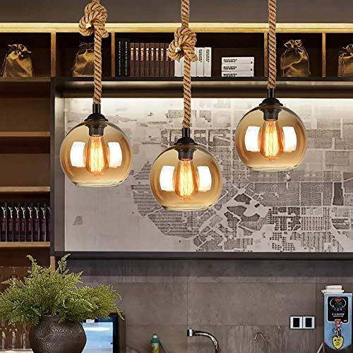 Casual 3 Luz de la lámpara de Cristal de la Personalidad Creativa Restaurante Bar lámpara de Mesa Tienda de Ropa de cáñamo Loft Retro Cuerdas Industrial de Viento pequeño Araña HAODAMAI