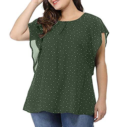 TOWAKM Damen Fledermaus Batwing Chiffonbluse Tunika T-Shirt Top Bluse Kurzarm Rundkragen Sommer Casual Loose Fit(Grün,XL)