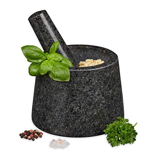 Relaxdays Mörser mit Stößel, Granit, poliert, langlebig, für Gewürze und Kräuter, Steinmörser D: 13,5 cm, dunkelgrau